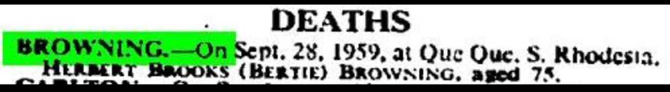 Bertie's Death Notice